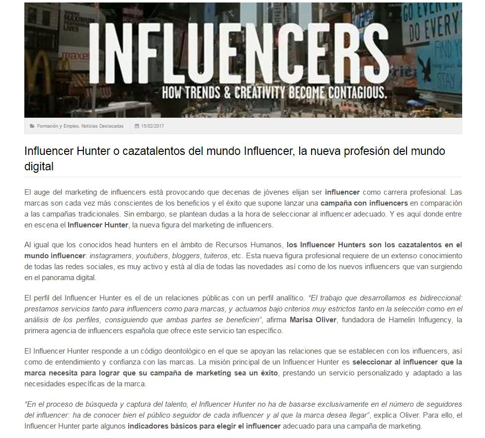 Noticias sobre agencias de influencers